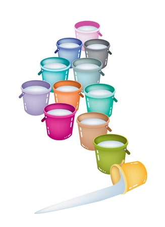 An Illustration of Twelve Colorful Bucket Full of Clear Water Isolated on A White Background.  Vector