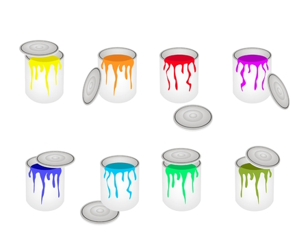 colors paint: Art Supply, An Illustration Collection of Opened Paint Bucket Colors Dripping Out of Can Prepared for Paint and Draw A Picture.  Illustration