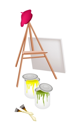 Art Supply, An Empty Wooden Easels with Artist Beret, Craft Paintbrush and Color Tubes and  Paint Cans for Paint and Draw A Picture.  Stock Vector - 24806731