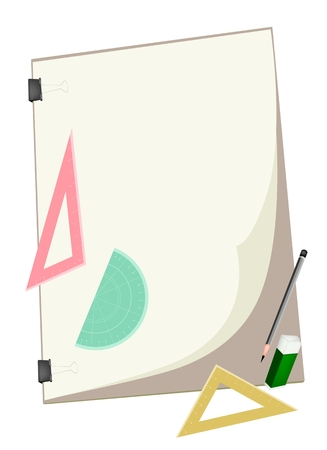 A Sharpened Pencil and Eraser with Geometric Rulers and Protractor Laying on Art Board or Artist Clipboard for Sketch and Draw An Architectural Drawing.  Vector