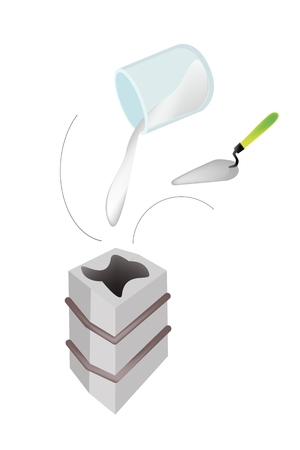 plaster of paris: Artist Pouring Liquid Plaster of Paris, Rubber, Concrete or Resin in A Shell Mold Casting to Make A Statue Isolated on White Background  Illustration
