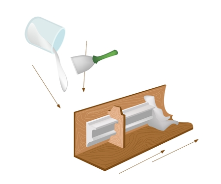cornice: Artist Pouring Liquid Plaster of Paris in A Wooden Mold to Make A Plaster Cornice Isolated on White Background