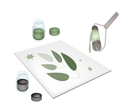 Relief Process, Artist Screen Printing Green Leaves By Paint Roller and Ink on Print Device Isolated on White Background   Vector
