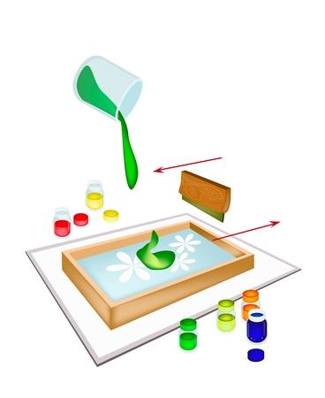 knutsel spullen: Silk Screen of Zeefdruk, Artist Screen Printing Beelden afdrukken Door Squeegee en Inkt op afdrukken apparaat geïsoleerd op witte achtergrond