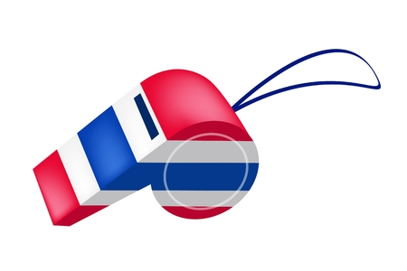 An Illustration of Red, White and Blue Stripe on Thai Whistles The Sport Concept and Democraycy Symbol for Against Government and Corruption  Vector