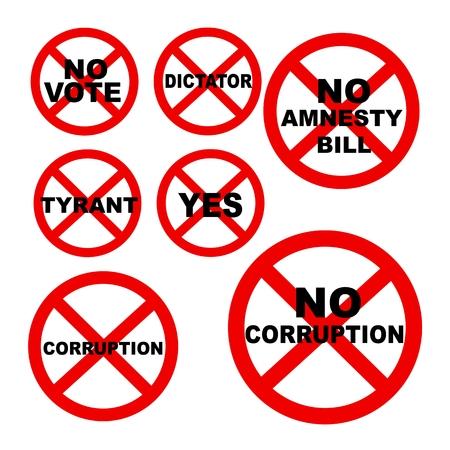 bestechung: Eine Illustration Sammlung keine Anzeichen oder verbotene Zeichen der Korruption Konzept und Demokratie-Konzept auf wei�en Hintergrund Illustration