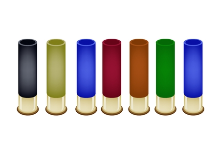 Gun Accessory, An Illustration Collection of Shotgun Shells in An Assortment of Colors Isolated on White Background  Vector