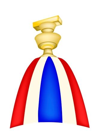 Democracia Símbolo, Un Ejemplo de Tailandia Constitución sobre una bandeja con un segundo pedestal, En Un agitando la bandera tailandesa largo