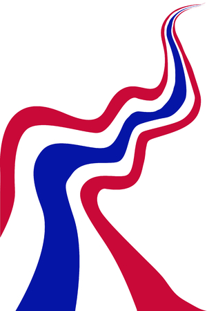 defiance: Democraycy Symbol, An Illustration of Waving The Long Thai Flag in Red, White and Blue Stripe Isolate on A White Background.