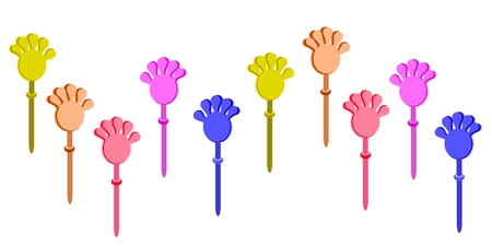 applaud: Illustration Collection of Plastic Hand Clap Toys, Used for Applause or Against Government in Thailand.