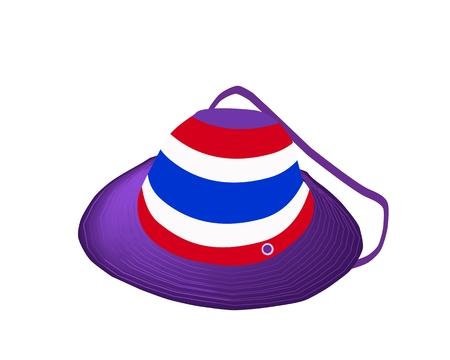 sombrero de paja: Democraycy S�mbolo, Un Ejemplo hermoso sombrero de paja del Reino de la bandera de Tailandia en rojo, blanco y azul de la raya de aislar en un fondo blanco.