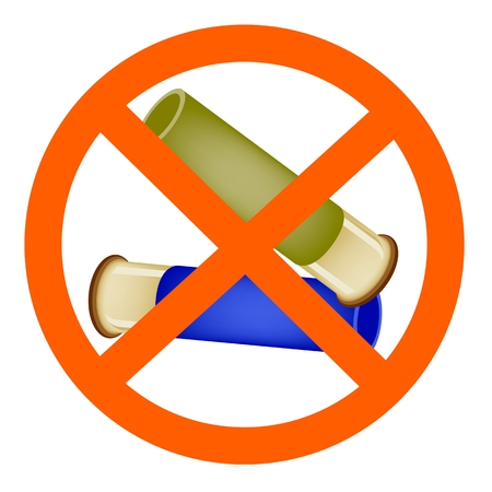 Two Bullets or Shotgun Shells in No Signs or Forbidden Signs of Concept of Non-violence Isolated on White Background.  Vector