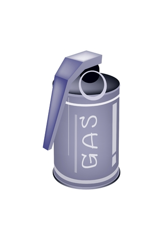 hand grenade: An Illustration of Tear Gas Hand Grenade Canister for Riot Police Officer Isolate on A White Background.