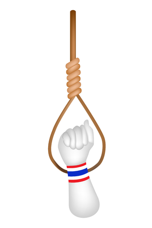 tyrant: A Clenched Fist Raised Up in The Air Wearing Thailand Flag Wristband in Front of Hanging Noose for Against Government and Corruption.