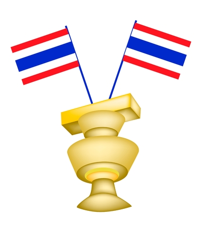 Democracy Symbol, An Illustration of Two Thai Flag and Thailand Constitution on A Tray with A Second Pedestal   Vector