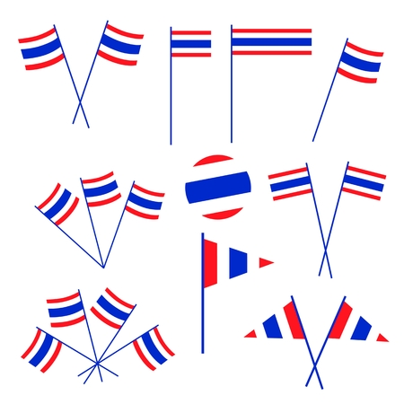 defiance: Democraycy Symbol, An Illustration Collection of Kingdom of Thailand in Red, White and Blue Stripe Isolate on A White Background.