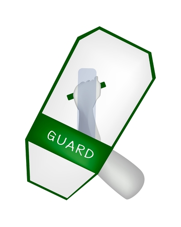 Security Concept, An Illustration of Hand Holding A Green Police Shield or A Riot Shield Isolate on A White Background.  Vector