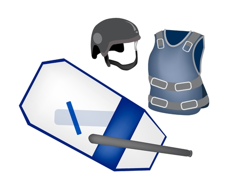 Security Concept, An Illustration of Police Equipment and Police Uniform, Nightstick, Shield, Helmet and Bulletproof Vest for Riot Police Officer.  Vector