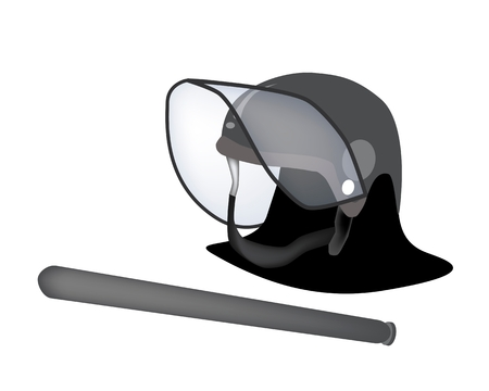 nightstick: Security Concept, An Illustration of Police Helmet and Nightstick for Riot Police Officer Isolate on A White Background.