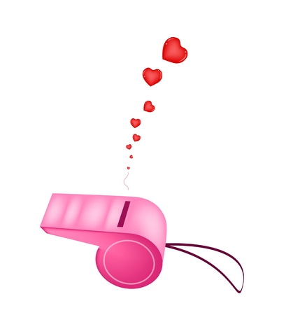 An Illustration of Pink Whistle Blowing Love Sound Vector