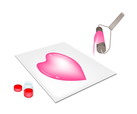 Artist Screen Printing Lovely Heart Shape By Paint Roller and Ink on Print Device Isolated on White Background  Vector