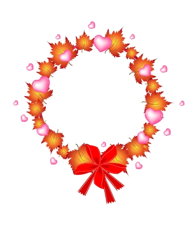 Valentine Wreath of Autumn Maple Leaves and Hearts in Orange Color with Lovely Red Bows Vector