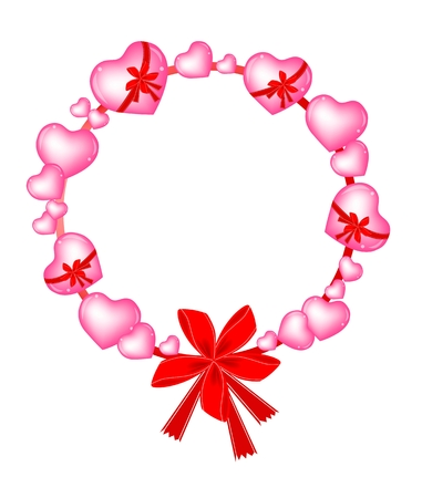 A Valentine Wreath of Pink Hearts with Lovely Red Bows Vector