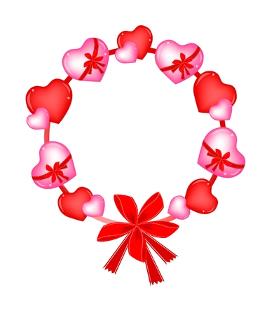 Valentine Wreath of Red and Pink Heart in with Lovely Red Bows Vector