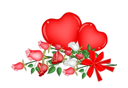 Beautiful Red Rose with Two Hearts Vector