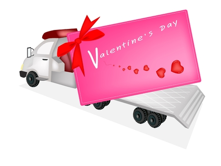 tow tractor: Lorry Delivering A Giant Valentine Card with Red Bows and Ribbon Illustration