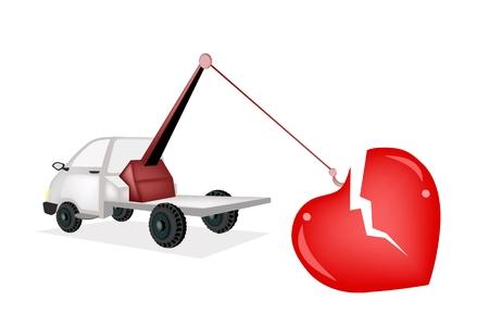 tow truck: An Illustration of Auto Wrecker Tow Truck Recover A Broken Heart