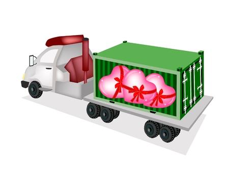 freight container: A Freight Container Trucking Pila de corazones en la parte trasera de un cami�n de plataforma