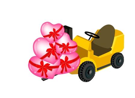 lift truck: Tenedor de camiones o Lift Truck cargar una pila de encantadores corazones rosados Vectores