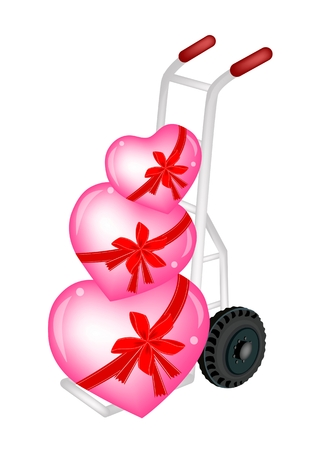 dolly: Love Concept of Hand Truck or Dolly Loading Three Lovely Hearts