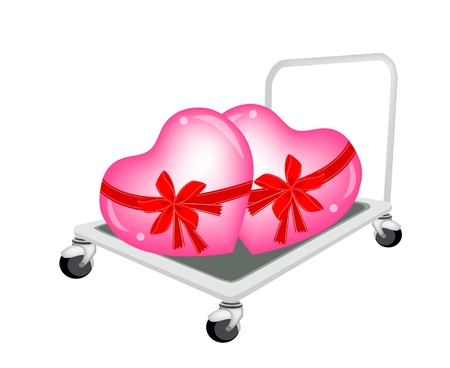 warehousing: Love Concept of Hand Truck or Dolly Loading Pink Two Lovely Hearts