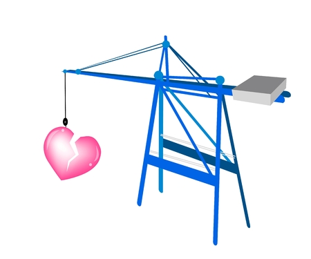 A Container Crane with Lovely Big Broken Heart Preparing for Storage and Transportation Vector