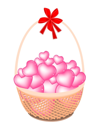 An Illustration of Stack of Hearts on A Beautiful Wicker Basket  Vector