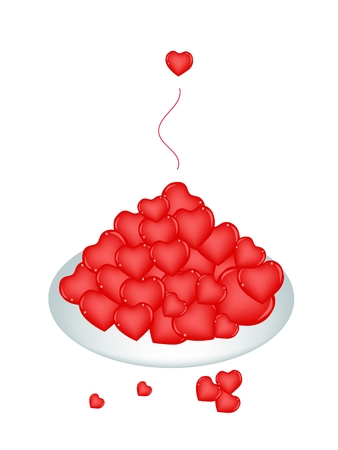 An Illustration Stack of Beautiful Hearts Served on A Beautiful white Dish Banco de Imagens - 25035664