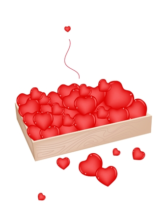 wooden box: An Illustration Heap Of Beautiful Hearts in Wooden Box Illustration