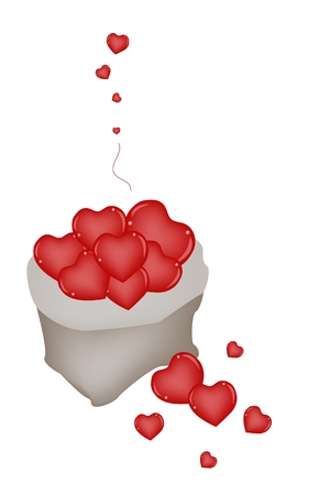 An Illustration of A Pail of Beautiful Red Hearts in A Canvas Bag Isolated on A White Background Stock Vector - 25035683