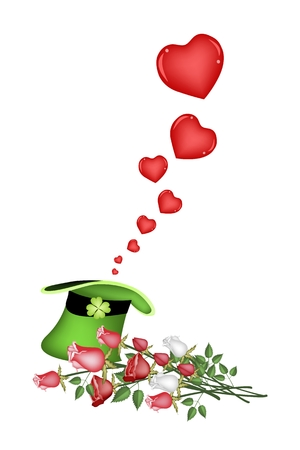good luck symbol: An Illustration of Lovely Hearts in Saint Patrick Hat A Good Luck Symbol on Valentine Day.
