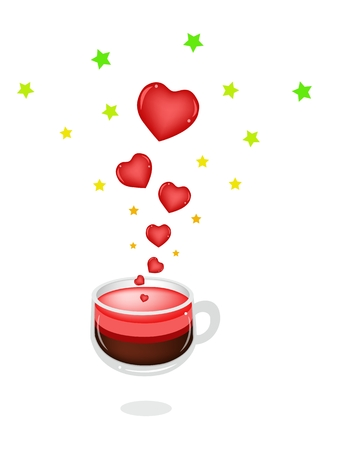 piccolo: Coffee in A Glass Cup Making From A Hearts for Someone Special Isolated on White Background.