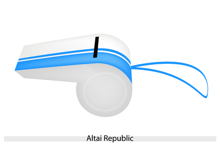 altai: An Illustration of White and Light Blue Stripe of Altai Republic Flag on A Whistle, The Sport Concept and Political Symbol.  Illustration