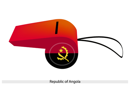 machete: An Illustration of Red and Black Color with A Crossed Cog wheel, Machete and Gold Star of The Republic of Angola Flag on A Whistle, The Sport Concept and Political Symbol.
