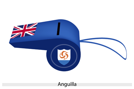 anguilla: An Illustration of Blue Color of Anguilla Flag on A Whistle, The Sport Concept and Political Symbol.
