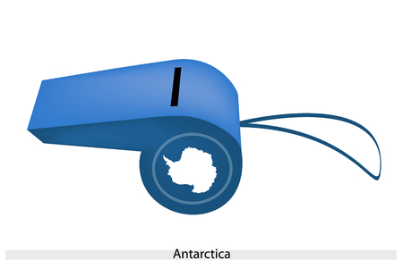 An Illustration of Plain White Map of The Continent On A Blue Color of Antarctica Flag on A Whistle, The Sport Concept and Political Symbol.  Vector