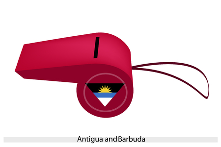 barbuda: Antigua and Barbuda Flag of Red Color with Sun Down Over A New Era on A Whistle, The Sport Concept and Political Symbol.  Illustration