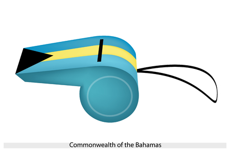 overseas: An Illustration of Three Horizontal Stripes of Aquamarine and Gold with A Black Triangle of The Bahamas Flag on A Whistle, The Sport Concept and Political Symbol.