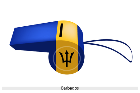An Illustration of A Verticaltri Band of Ultramarine and Gold with A Black Trident with Barbados Flag on A Whistle, The Sport Concept and Political Symbol.  Vector