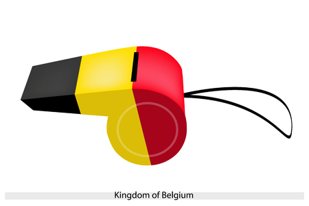 black and yellow: An Illustration of Vertical Tricolour of Black, Yellow and Red Stripe of The Kingdom of Belgiumc Flag on A Whistle, The Sport Concept and Political Symbol.  Illustration